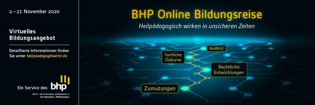 Werbeplakat für die Online-Bildungsreise des BHP